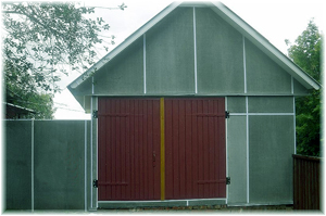 забор и гараж из плоского шифера