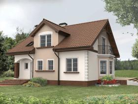Классический домик с коричневой крышей