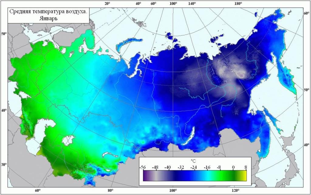 Средняя расчетная зимняя температура для разных регионов России