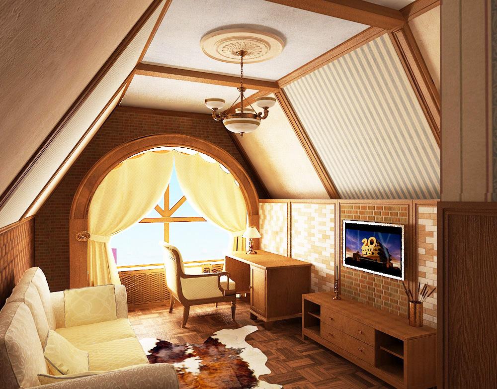 Дизайн комнаты мансард